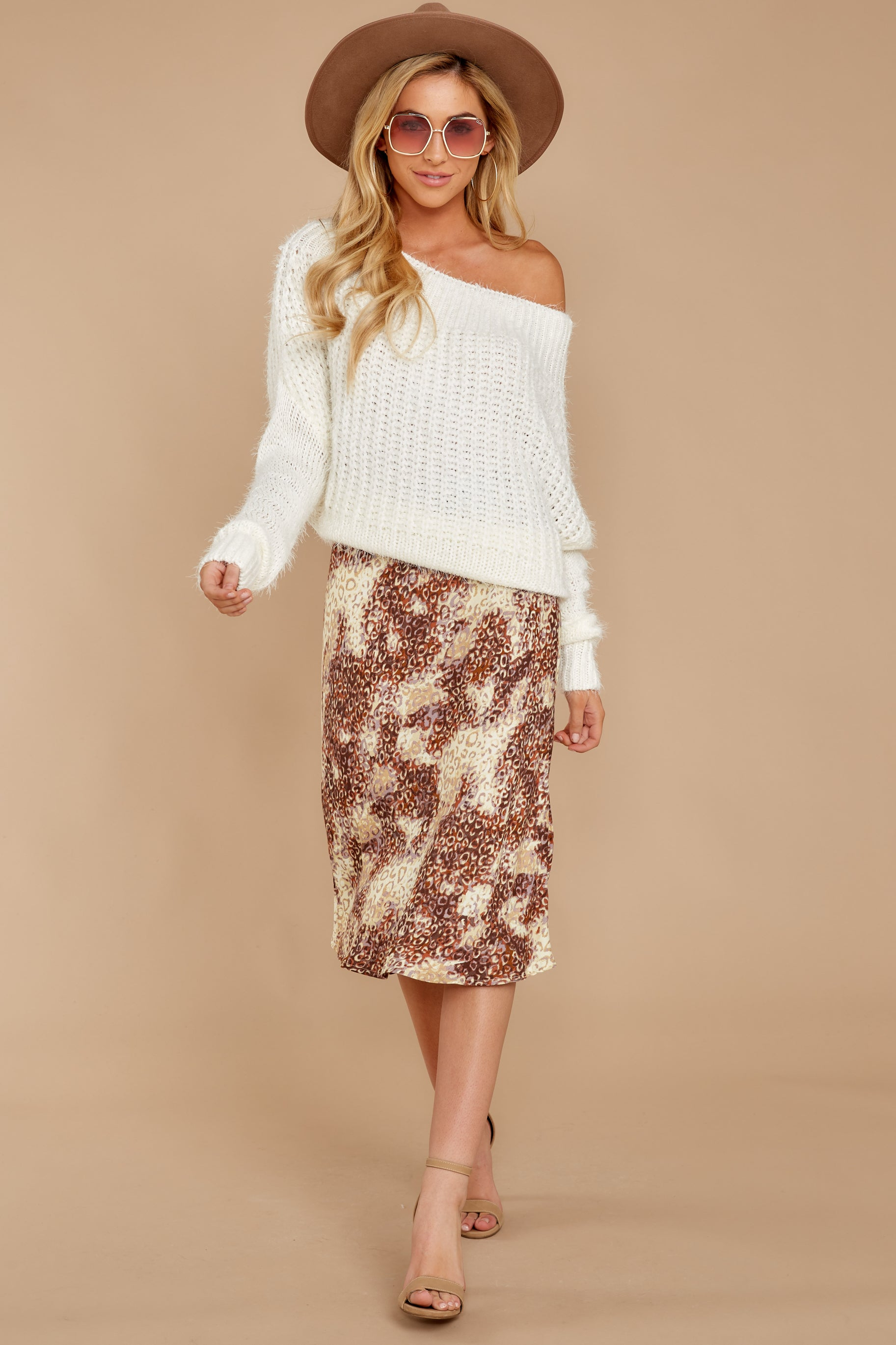 7 On The Mark Multi Print Midi Skirt at reddress.com