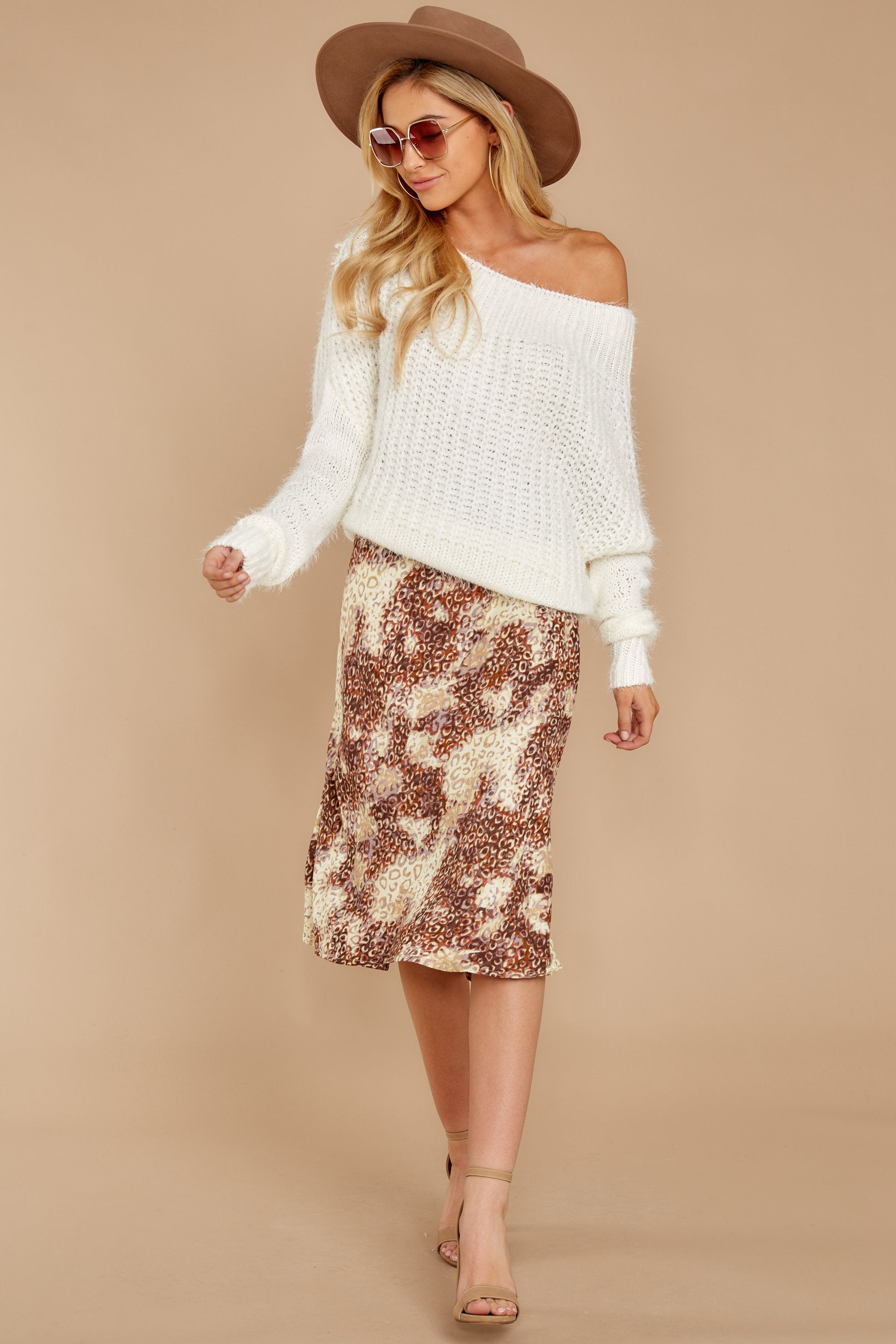9 On The Mark Multi Print Midi Skirt at reddress.com
