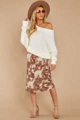 8 On The Mark Multi Print Midi Skirt at reddress.com