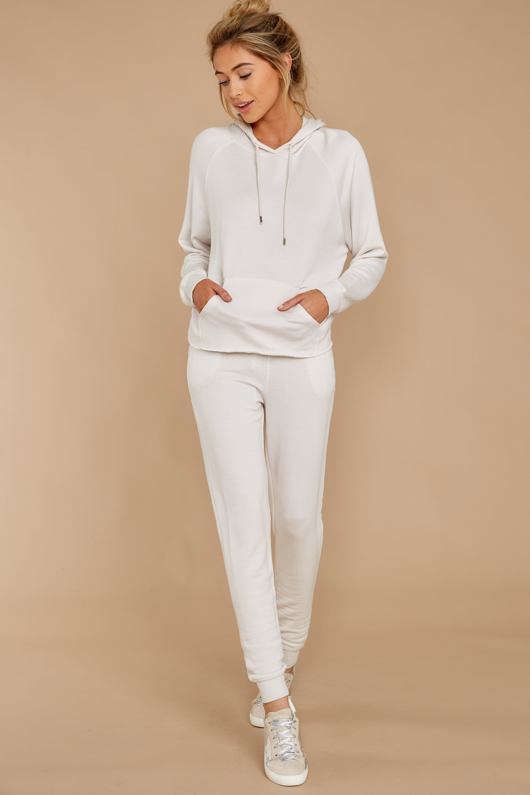 3 The Champagne Mist Premium Fleece Dolman Hoodie at reddress.com