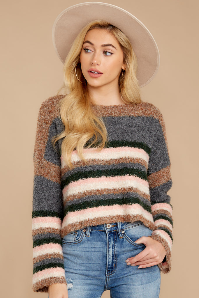 1 Getting Cozy Grey Stripe Sweater at reddress.com