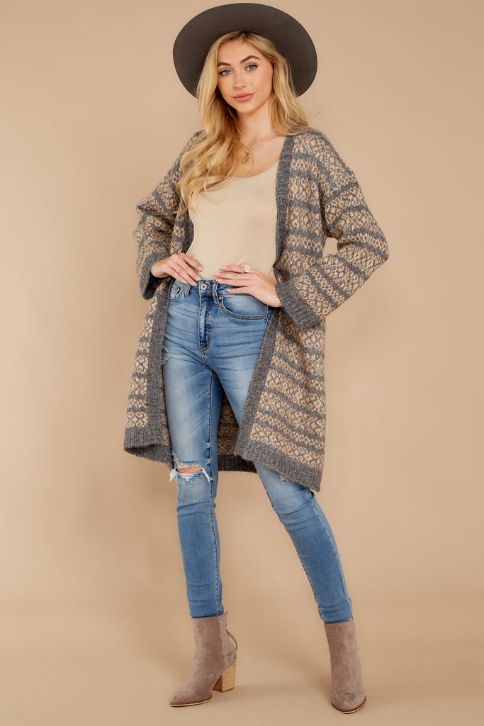 2 Thank Me Later Beige Multi Stripe Cardigan at reddressboutique.com