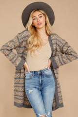 7 Fair Is Fair-Isle Grey Cardigan at reddressboutique.com