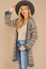 8 Fair Is Fair-Isle Grey Cardigan at reddressboutique.com