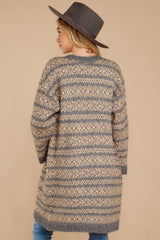 9 Fair Is Fair-Isle Grey Cardigan at reddressboutique.com