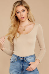 1 Secret Crush Beige Bodysuit at reddressboutique.com