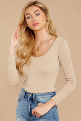2 Secret Crush Beige Bodysuit at reddressboutique.com