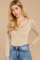3 Secret Crush Beige Bodysuit at reddressboutique.com