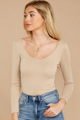 4 Secret Crush Beige Bodysuit at reddressboutique.com