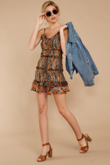 4 A New Take Rust Orange Multi Snake Print Dress at reddressboutique.com
