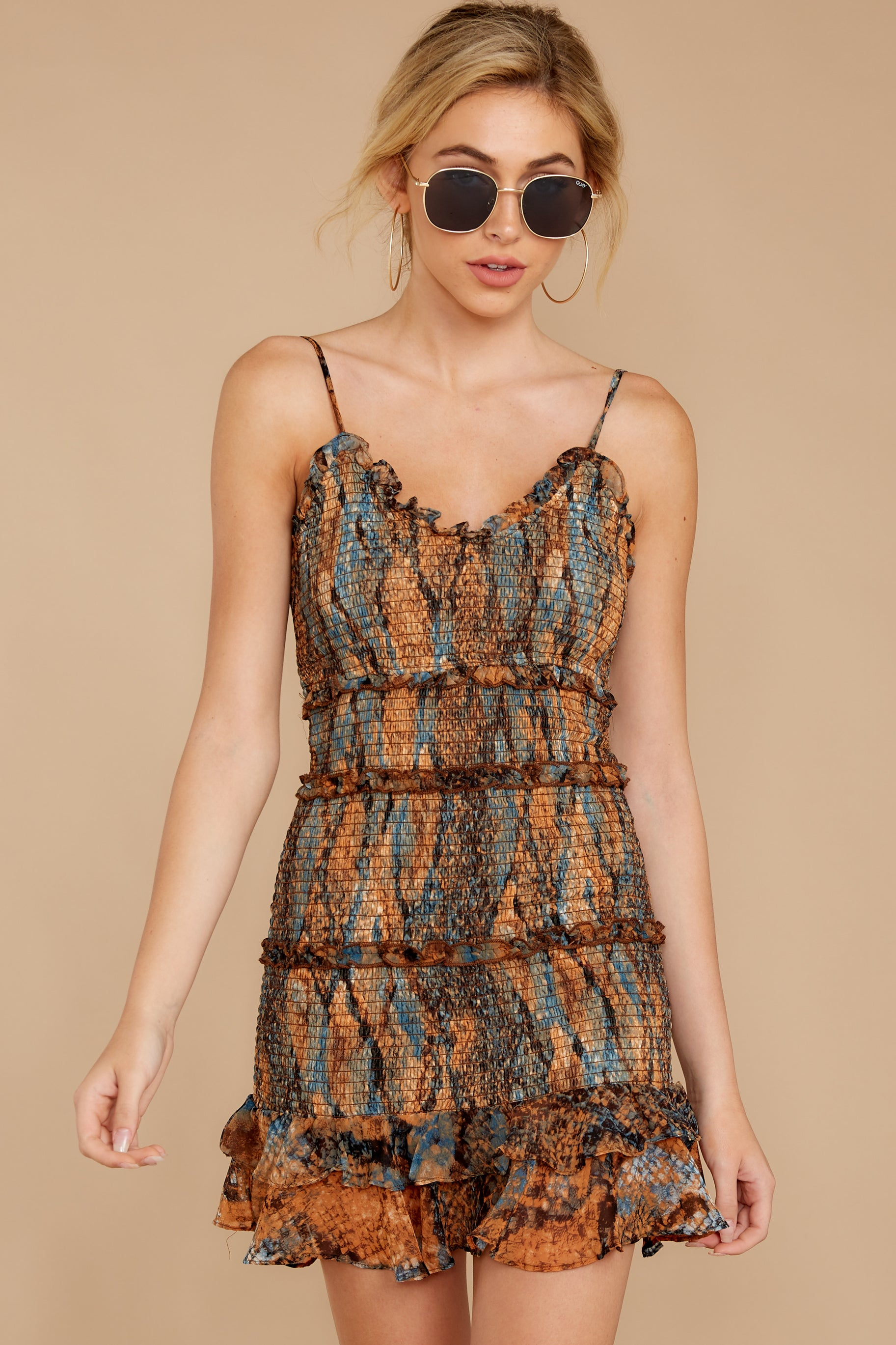 6 A New Take Rust Orange Multi Snake Print Dress at reddressboutique.com