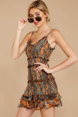 7 A New Take Rust Orange Multi Snake Print Dress at reddressboutique.com
