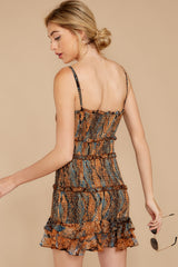 8 A New Take Rust Orange Multi Snake Print Dress at reddressboutique.com
