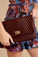 4 In Line With Style Burgundy Clutch at reddressboutique.com