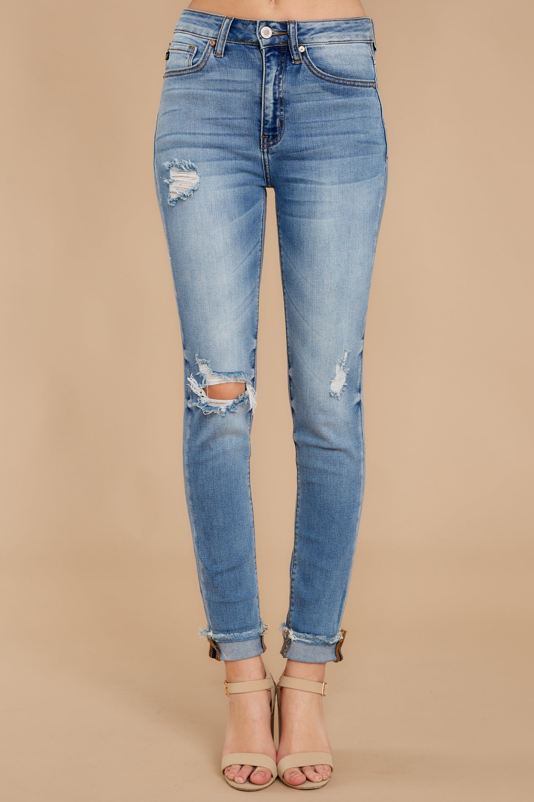2 Find Me In LA Light Wash Distressed Skinny Jeans at reddress.com