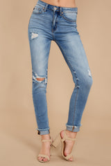 1 Find Me In LA Light Wash Distressed Skinny Jeans at reddress.com