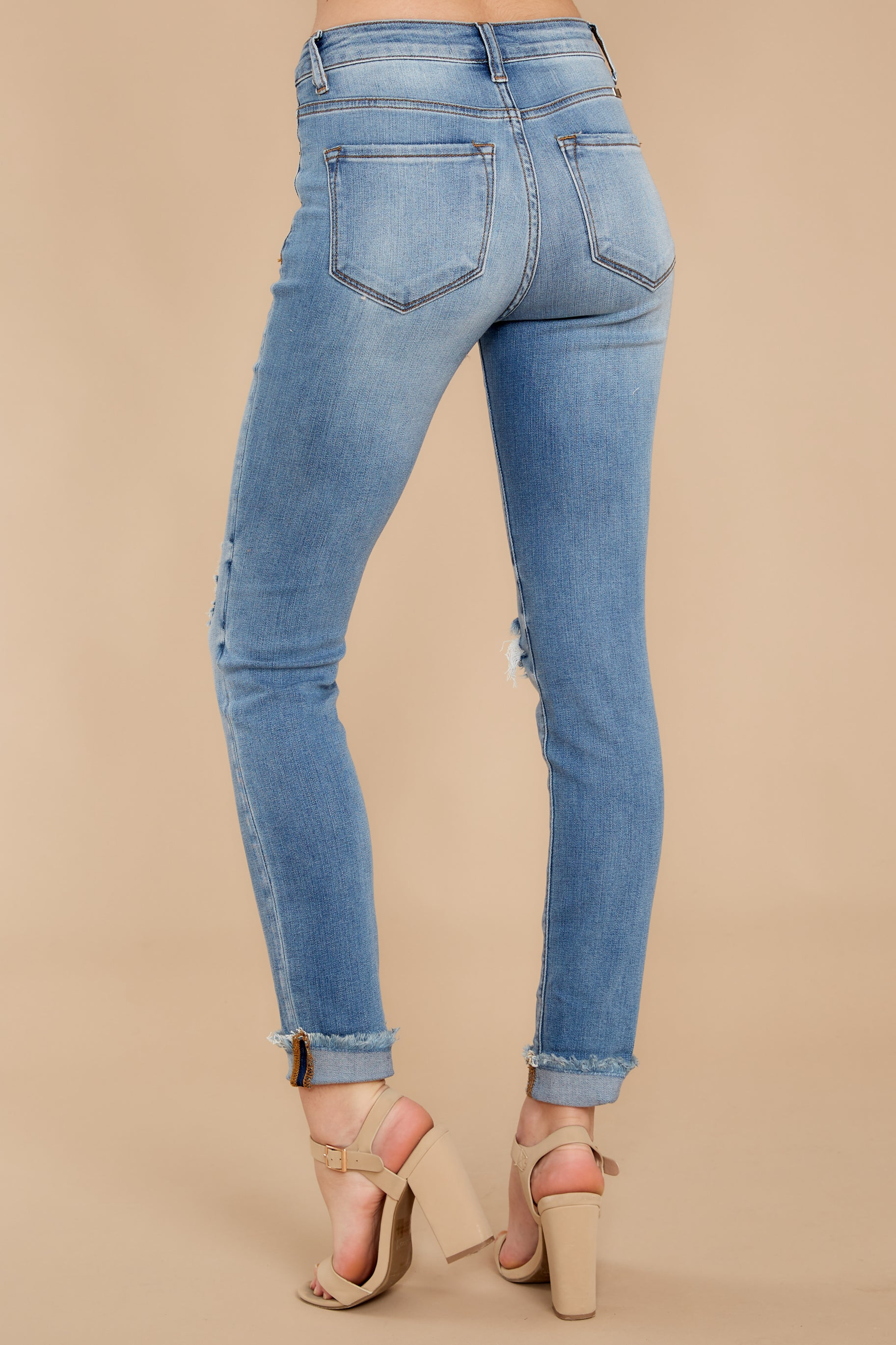 3 Find Me In LA Light Wash Distressed Skinny Jeans at reddress.com