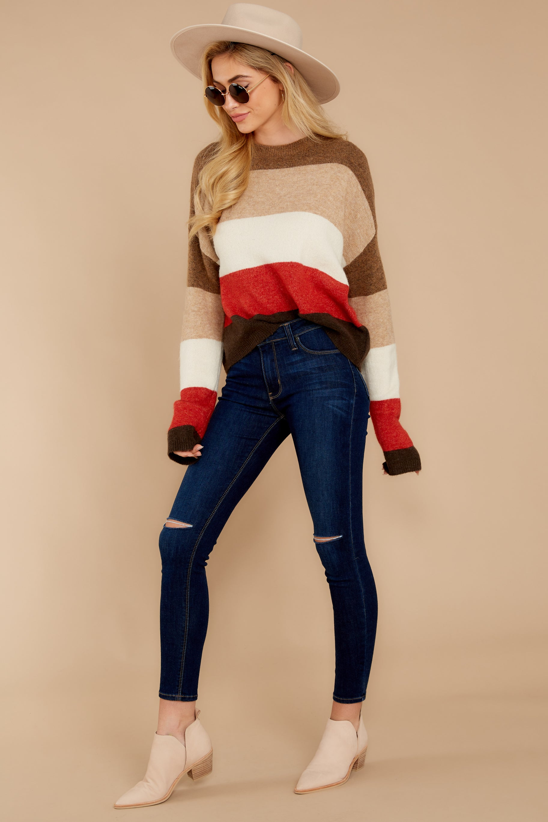 Worth The Compliment Red Multi Stripe Sweater