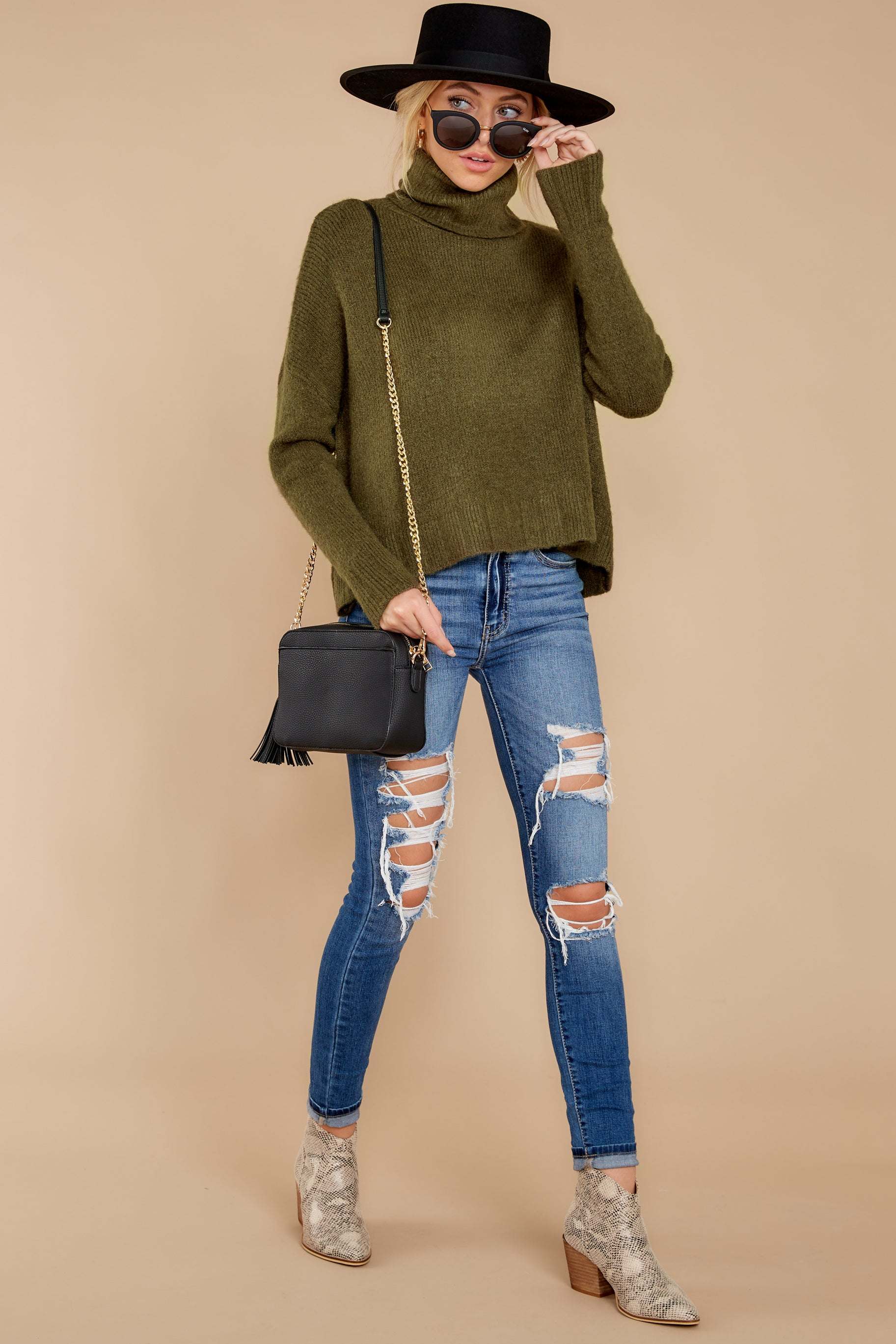 2 Say Anything Olive Green Turtleneck Sweater at reddress.com