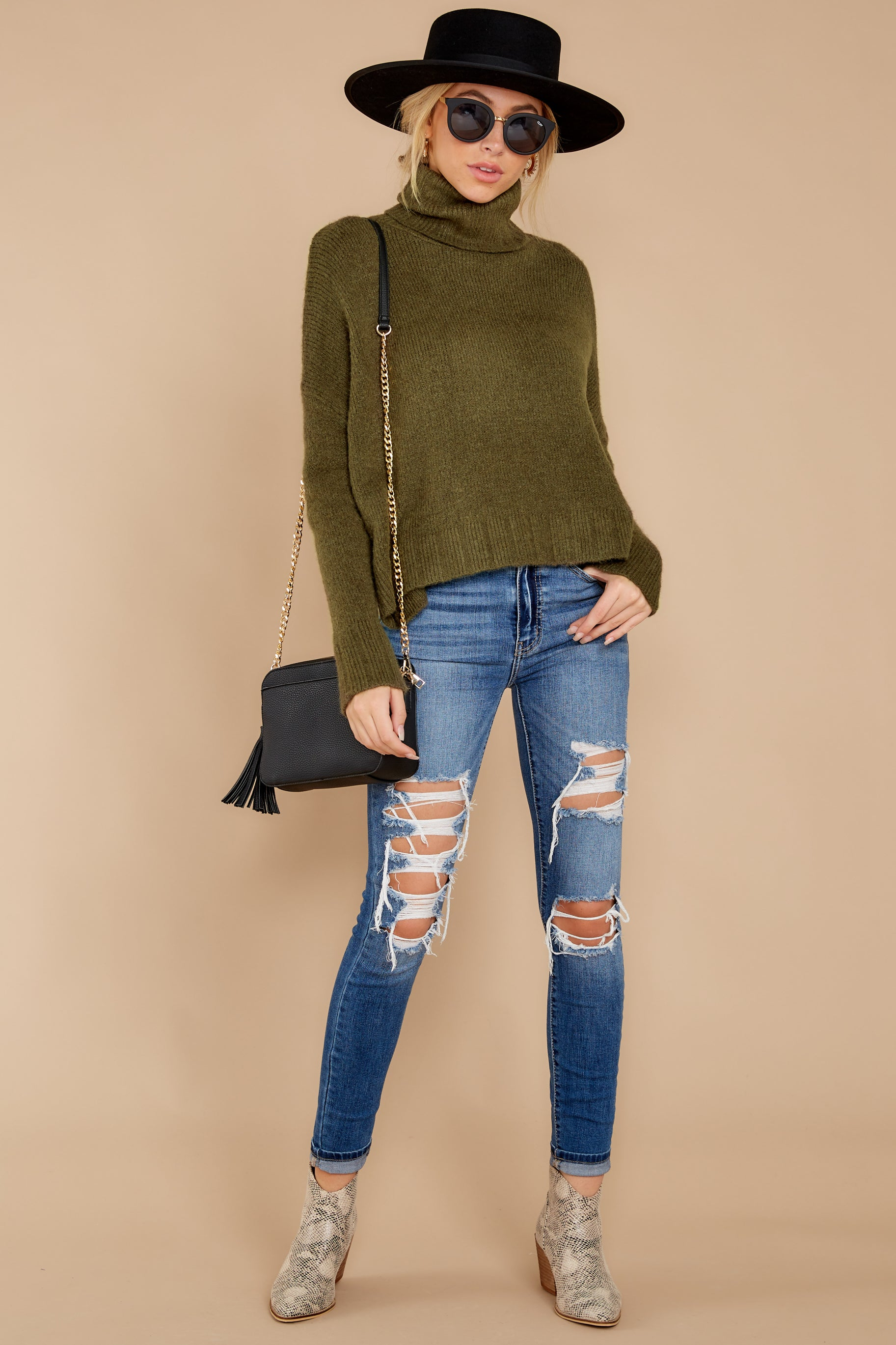 3 Say Anything Olive Green Turtleneck Sweater at reddress.com