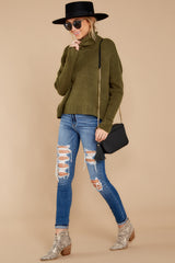 4 Say Anything Olive Green Turtleneck Sweater at reddress.com