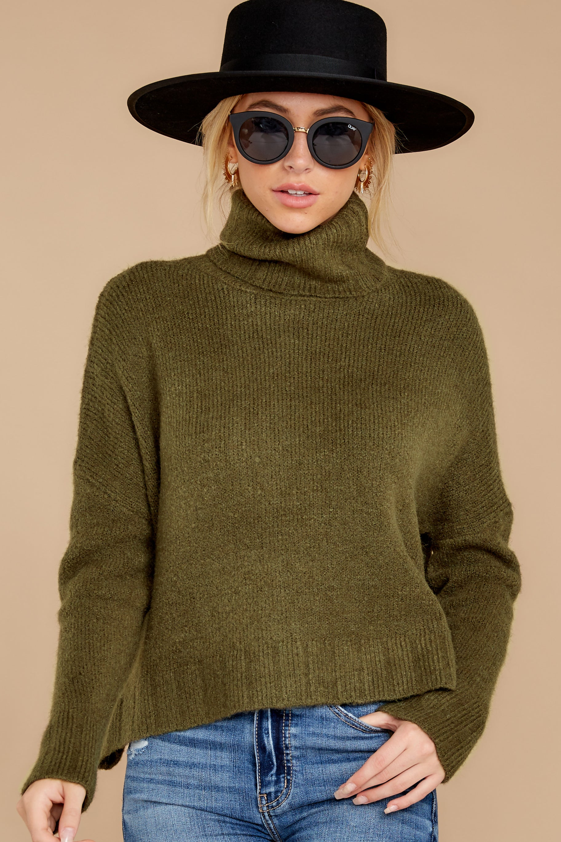 5 Say Anything Olive Green Turtleneck Sweater at reddress.com