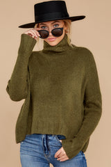 6 Say Anything Olive Green Turtleneck Sweater at reddress.com