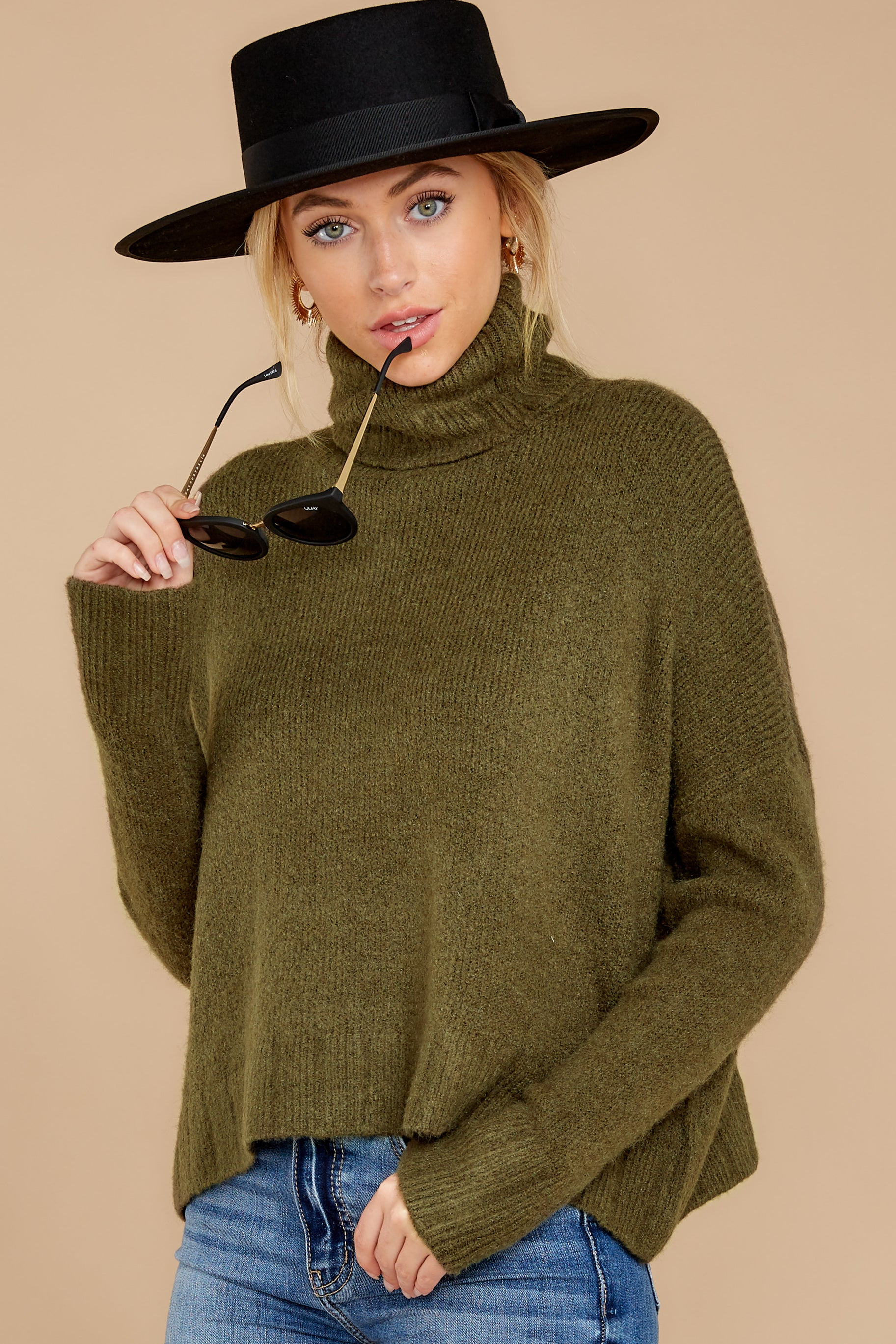 1 Say Anything Olive Green Turtleneck Sweater at reddress.com