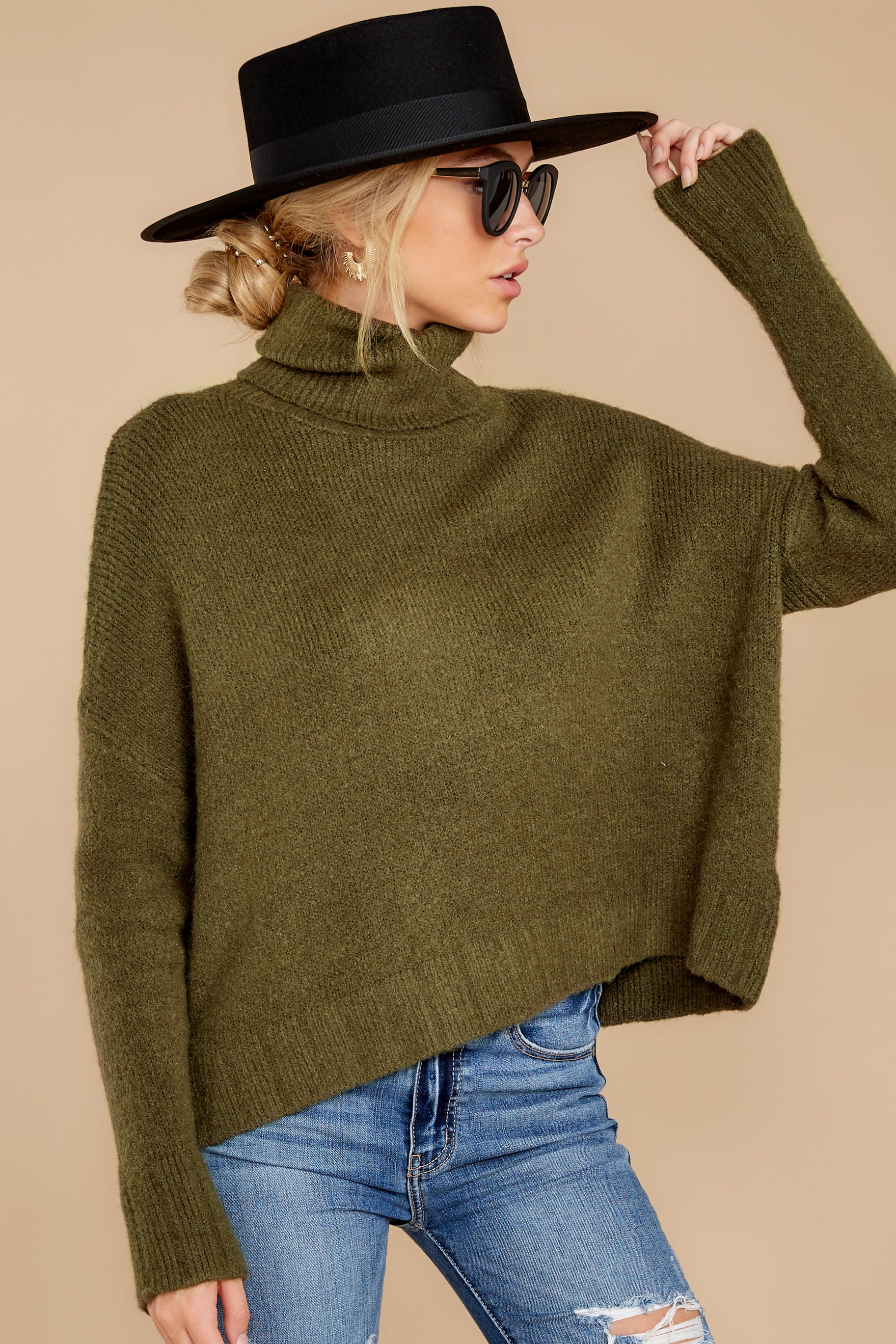 7 Say Anything Olive Green Turtleneck Sweater at reddress.com
