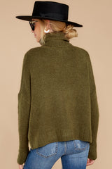 8 Say Anything Olive Green Turtleneck Sweater at reddress.com