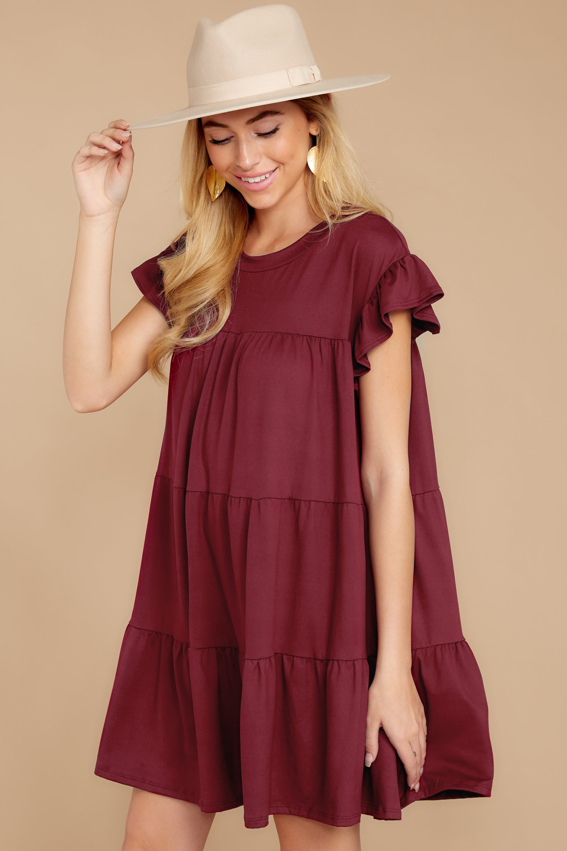 7 Sweet Persuasion Wine Dress at reddressboutique.com