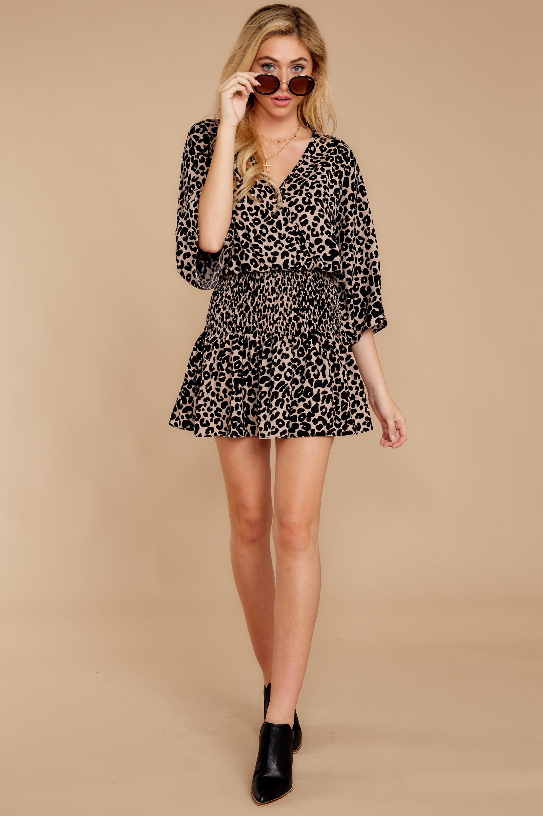 1 Such A Charmer Taupe Leopard Print Dress at reddressboutique.com