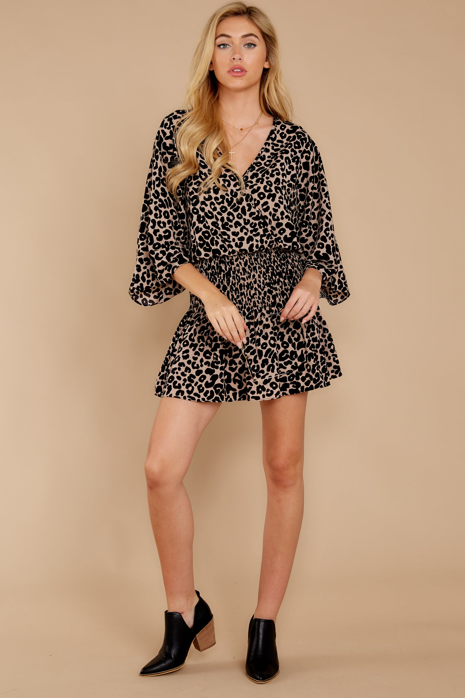 2 Such A Charmer Taupe Leopard Print Dress at reddressboutique.com