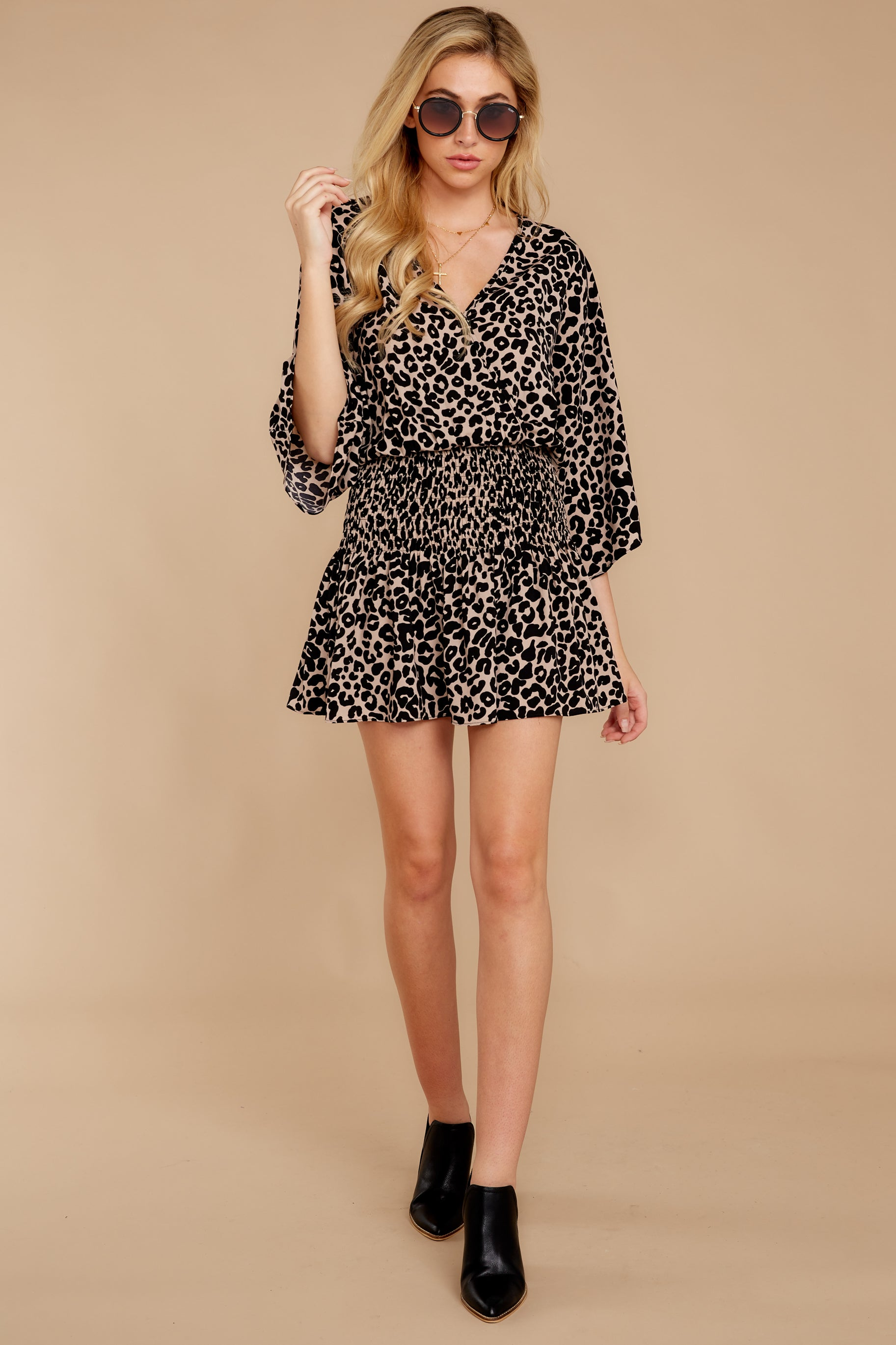 4 Such A Charmer Taupe Leopard Print Dress at reddressboutique.com