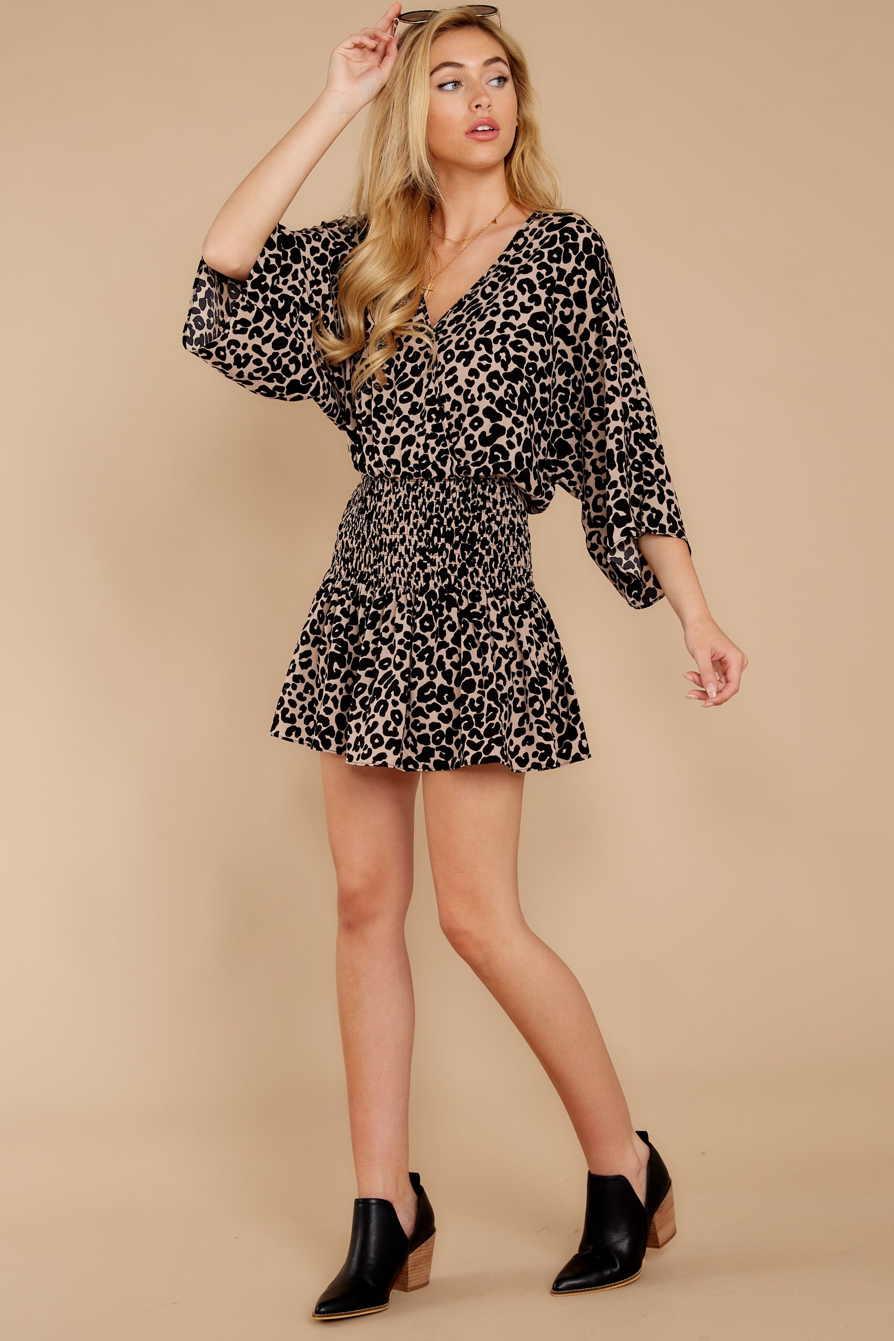 5 Such A Charmer Taupe Leopard Print Dress at reddressboutique.com