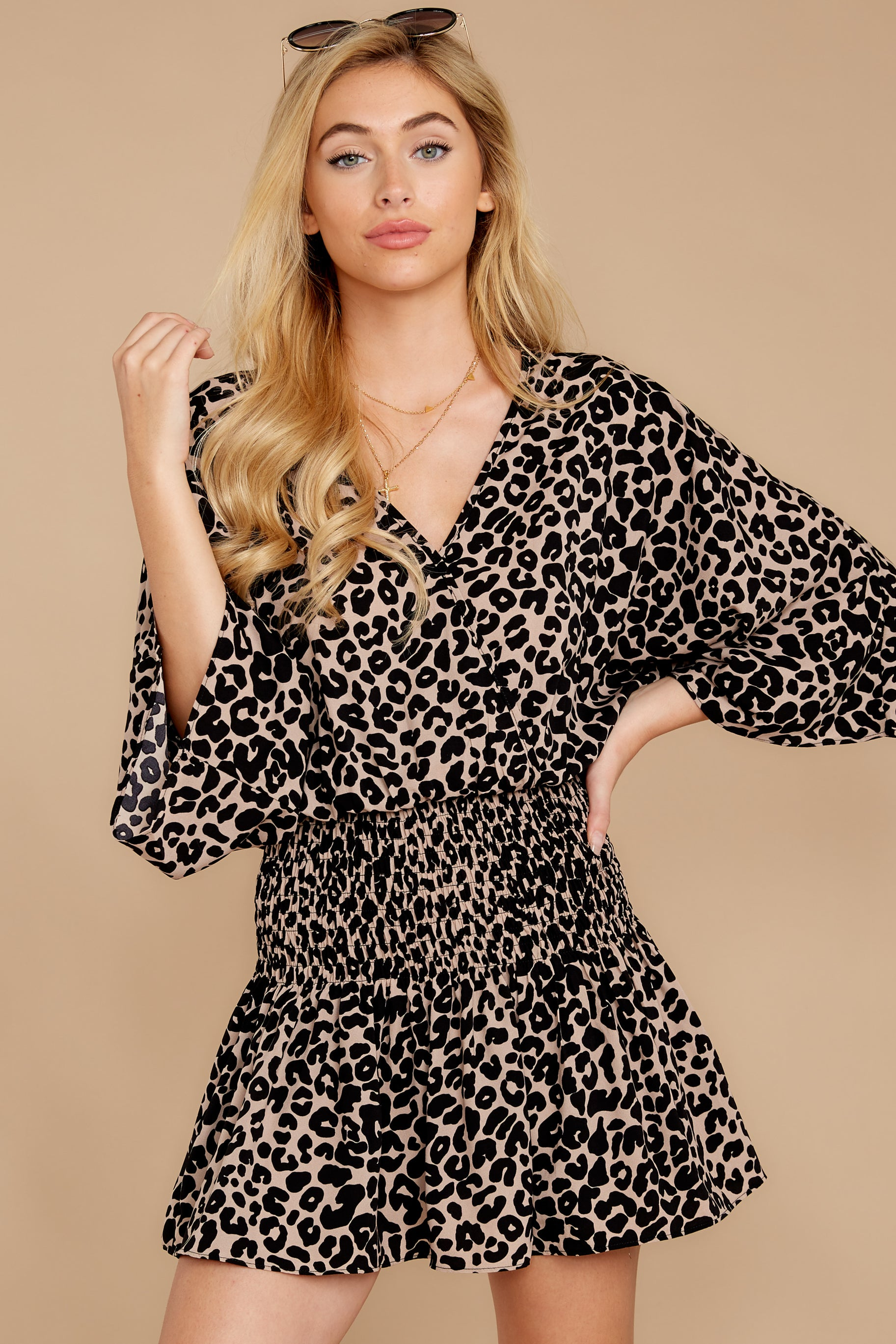 6 Such A Charmer Taupe Leopard Print Dress at reddressboutique.com