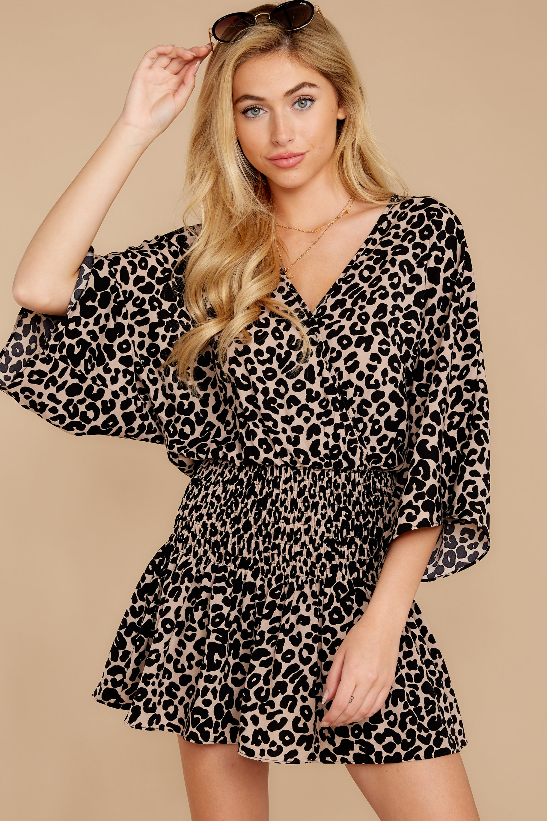 7 Such A Charmer Taupe Leopard Print Dress at reddressboutique.com
