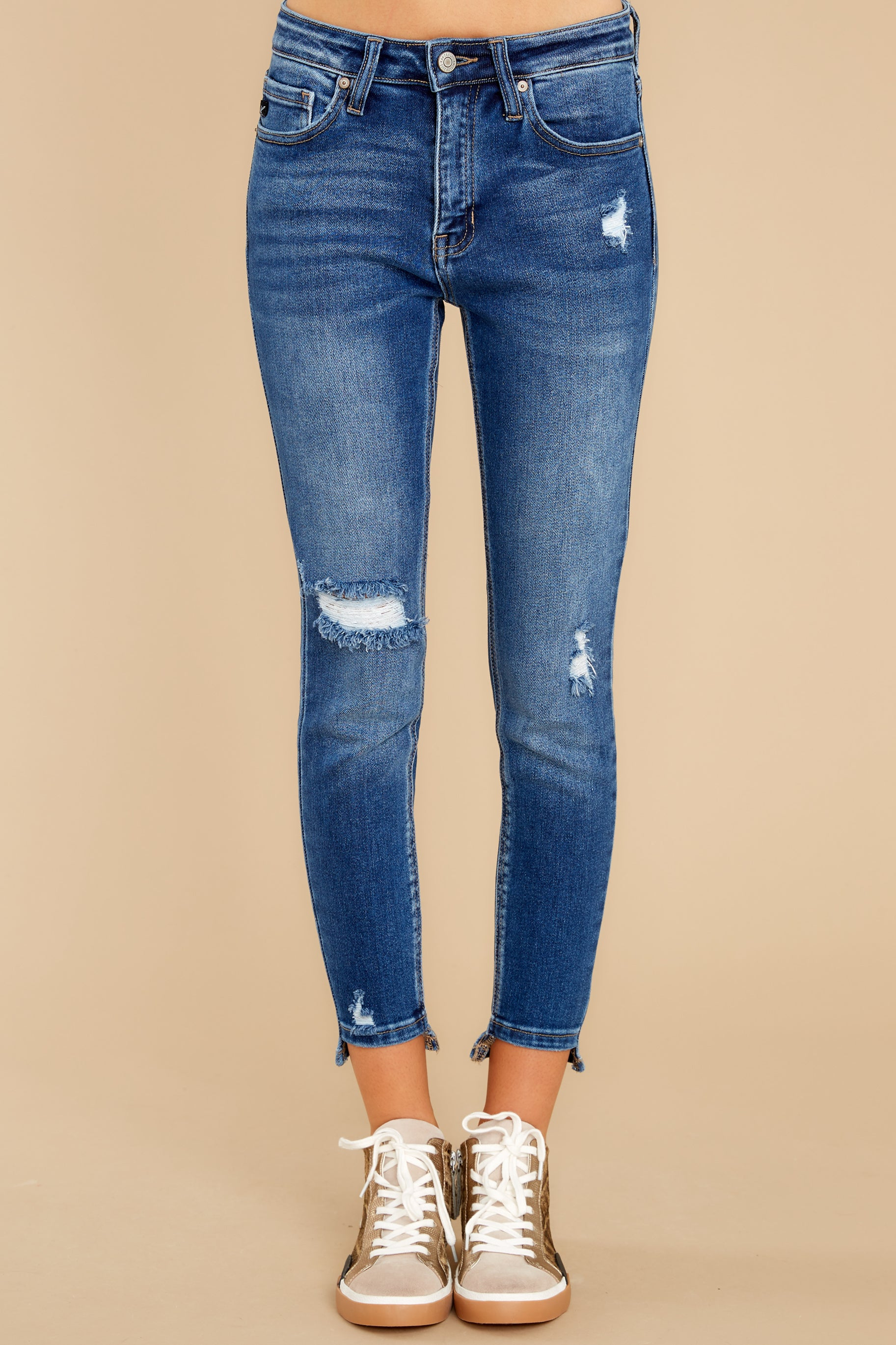 2 Last To Know Medium Wash Distressed Skinny Jeans at reddress.com