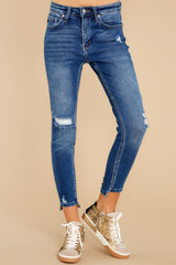 3 Last To Know Medium Wash Distressed Skinny Jeans at reddress.com