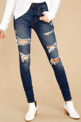 2 Your Every Whim Dark Wash Distressed Skinny Jeans at reddress.com