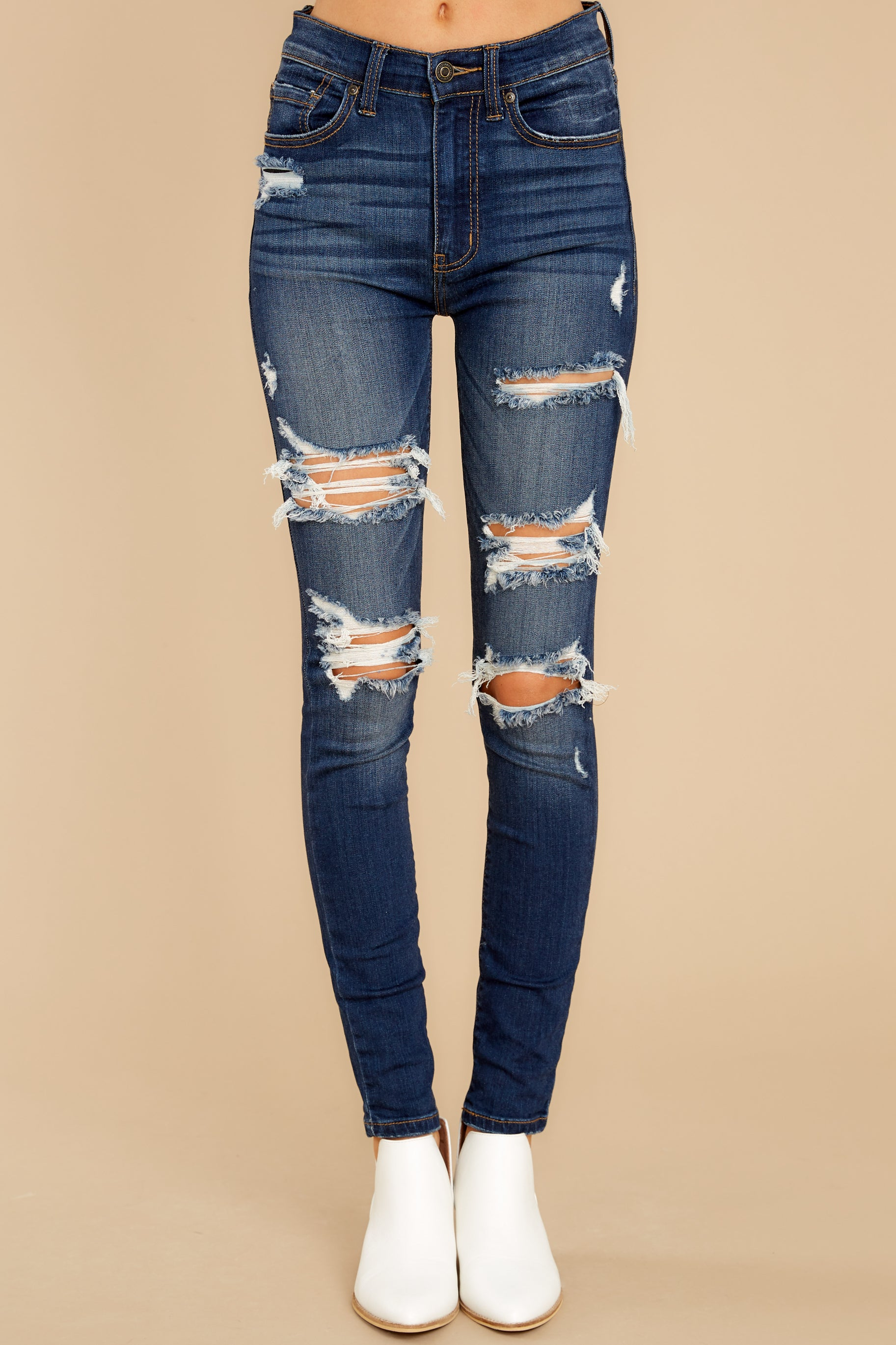 3 Your Every Whim Dark Wash Distressed Skinny Jeans at reddress.com