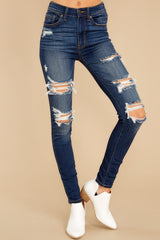 4 Your Every Whim Dark Wash Distressed Skinny Jeans at reddress.com