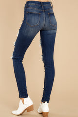5 Your Every Whim Dark Wash Distressed Skinny Jeans at reddress.com