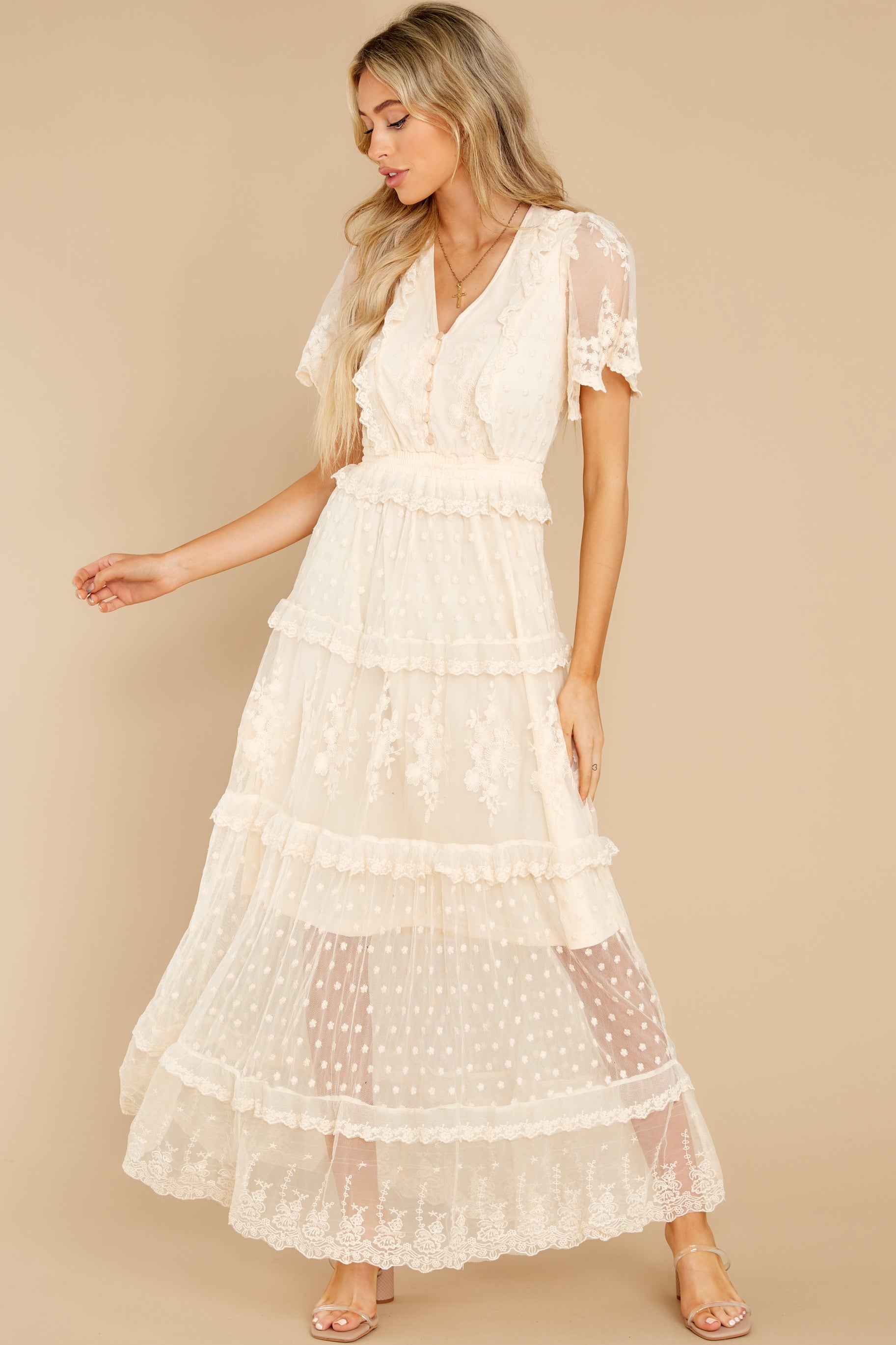 Cottagecore Dresses Aesthetic, Granny, Vintage Timeless And True Cream Maxi Dress White $52.00 AT vintagedancer.com