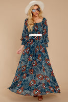 Full-Skirt Square Neck Long Sleeves Floral Print Shirred Sheer Maxi Dress With Ruffles