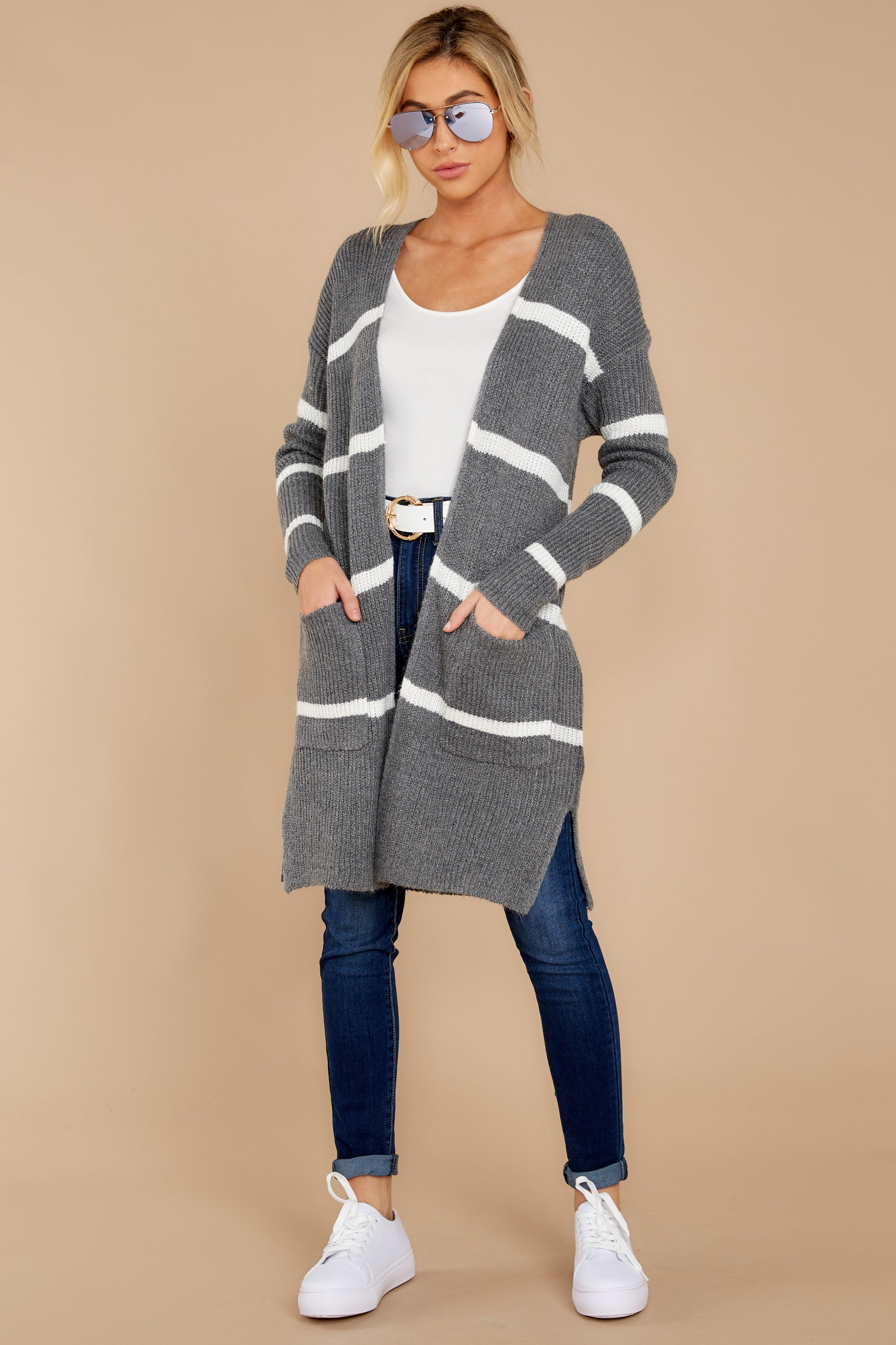 1 Ivy Cottage Grey Stripe Cardigan at reddressboutique.com