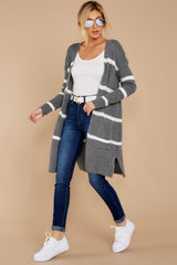 2 Ivy Cottage Grey Stripe Cardigan at reddressboutique.com