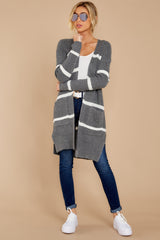 3 Ivy Cottage Grey Stripe Cardigan at reddressboutique.com