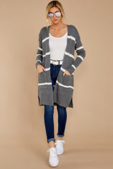 4 Ivy Cottage Grey Stripe Cardigan at reddressboutique.com