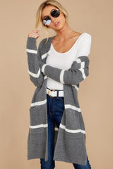 7 Ivy Cottage Grey Stripe Cardigan at reddressboutique.com